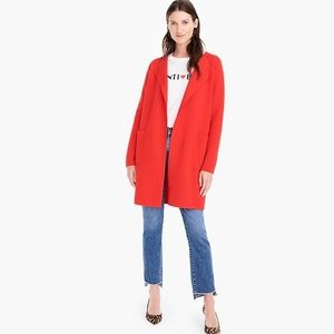 J.Crew Red Juliett Collarless Sweater-Blazer